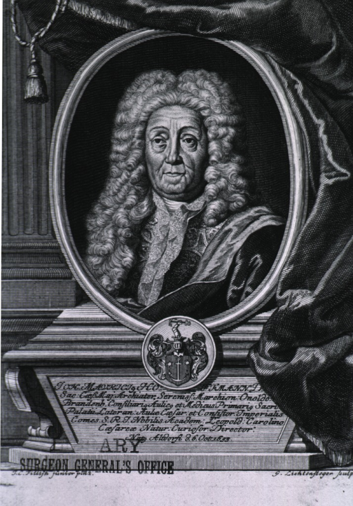 <p>Head and shoulders, full face, long curls; medallion set in draperies, coat-of-arms.</p>