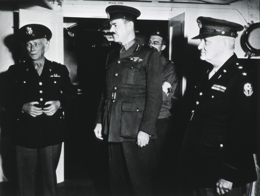 <p>Showing Kirk with Lt. General Sir Alexander Hood and Maj. General Paul R. Hawley inspecting operating room on the ship.</p>