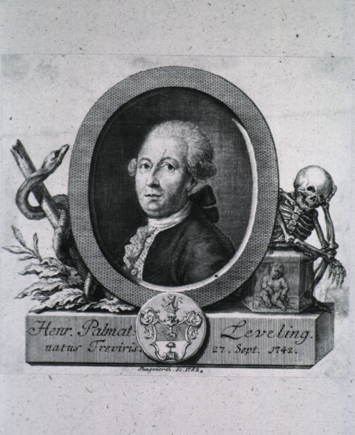 <p>Head and shoulders, left pose, full face; in oval; caduceus to left, skeleton to right; coat-of-arms.</p>