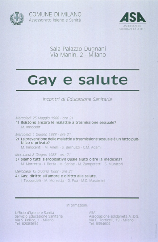 <p>White background with green lettering. Poster is all text with publisher information at top of poster. An address and the title follow next, and then below them is a listing of four lecture titles with the dates and speakers. At the bottom of the poster is contact information for the two publishers.</p>