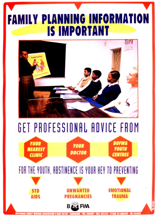 <p>Predominantly white poster with multicolor lettering.  Title at top of poster.  Visual image is a reproduction of a color photo showing four teens listening to a presentation on family planning.  Caption below photo.  Publisher logo and information at bottom of poster.</p>