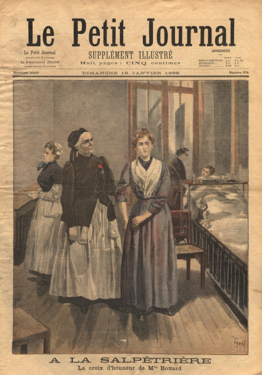 <p>Illustration of Marguerite Bottard, a nurse appointed to the order of Knights of the Legion of Honor.  Bottard is shown in nurse's uniform and wearing her medal.  She holds the arm of another woman, possibly a patient, in a hospital ward.</p>