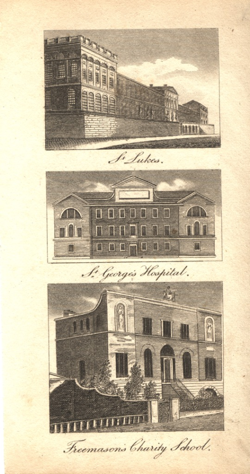 <p>Three seprate views of the facʹades of the buildings.</p>