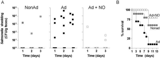 RNS suppress the increased oral virulence of ATR-adapted Salmonella.C57BL/6 mice were inoculated orally with ∼5×105 CFU of NonAd, Ad and Ad+NO Salmonella grown as described in figure 1. (A) Fecal shedding of nalidixic acid resistant Salmonella was monitored in individual mice for 3 days after oral inoculation. Panel B shows the % of mice that survived after oral challenge with Salmonella. Data represent 10 mice per group from 2 separate experiments.