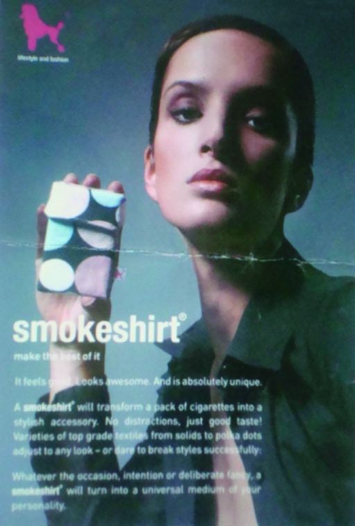 India: a leaflet promoting the Smokeshirt cigarette pack holder.