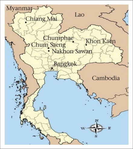 Map Of Thailand Showing Location Of Chumphae District Open I