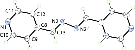 Molecular structure of 4-pyridinealdazine found in the structure of (I) showing displacement ellipsoids at the 50% probability level. The molecule is disposed about a centre of inversion with i = 1 - x, -y, 1 - z.