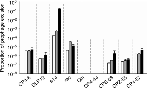 Prophage excised at different frequencies.Proportion of wild-type cells that have the indicated prophage excised without mitomycin C (open bar), with the addition of 1 μg ml−1 of mitomycin C (grey bar) and 10 μg ml−1 of mitomycin C (black bar). Mitomycin C was added to exponential-phase cells (turbidity /1.0) in LB medium at 37 °C for 4 h. Error bars indicate s.d. values (n=3).