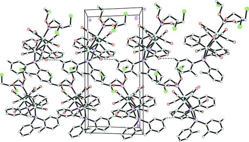 The crystal structure of the title compound, viewed down the c axis. H atoms not involved in hydrogen bonds (dashed lines) have been omitted for clarity.