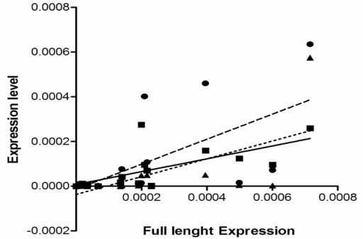 Correlation between the expression of full length hTERT variants and other alternative forms . The Spearman's correlation coefficient was used to find statistical relation between the expression of full length hTERT transcript and the three spliced variants. The expression of full length transcript in the cells with telomerase activity was found in significant association with both β-variant (■ symbol, sold line, P= 0.0007, r= 0.74) and then α-variant (● symbol, broken line, P= 0.001, r= 0.7) but not α/β-deleted variant (▲ symbol, dotted line, P= 0.002, r= 0.68). There was no statistically significant correlation between the expression of the full length variant and other variants in the telomerase negative cells (P< 0.3, r< 0.3).