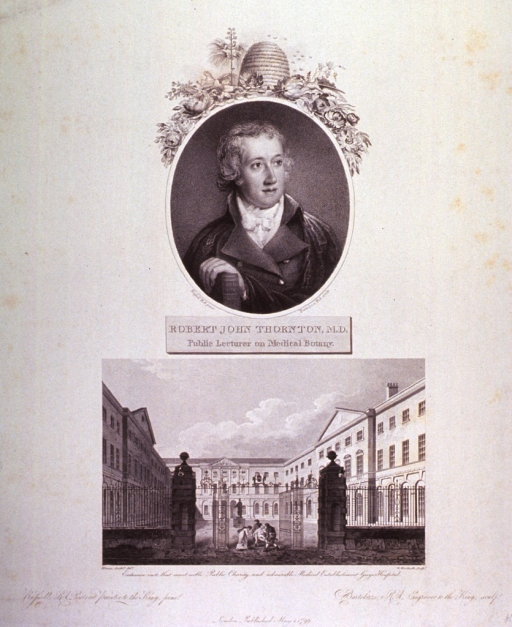 <p>Half length, full face, hand resting on book, in oval with caption below.  Lower half of mount contains picture of Guy's Hospital in London, showing patient being brought through entrance gate on a stretcher.</p>