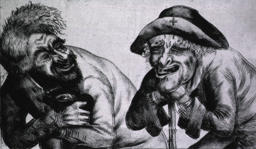 <p>Two old men, one is leaning on a staff and the other is embracing a tankard; their unkempt appearance is indicative of the ravages of alcoholism.</p>