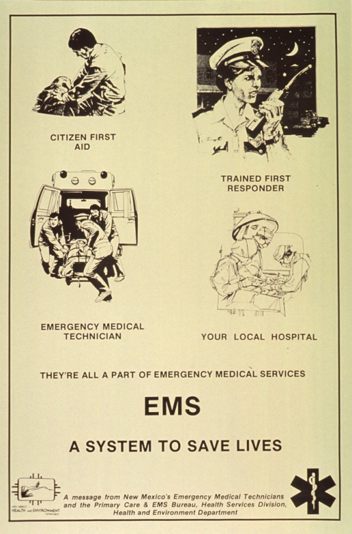 <p>Yellow poster with black lettering.  Visual image dominates upper portion of poster.  Image is a series of four illustrations depicting a person performing CPR, a uniformed officer using a radio, three emergency medical technicians loading a gurney into an ambulance, and three people working in an operating room.  Caption in upper portion of poster, title below.  Publisher information and logos at bottom of poster.</p>