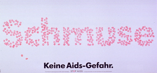 <p>White poster with pink and black lettering.  Initial title word dominates poster.  The letters are formed from pink &quot;lip prints,&quot; such as those left behind after a kiss from someone wearing lipstick.  Remaining title text, note, and publisher information at bottom of poster.  The &quot;o&quot; in stop is represented by a fresh, pink condom.</p>