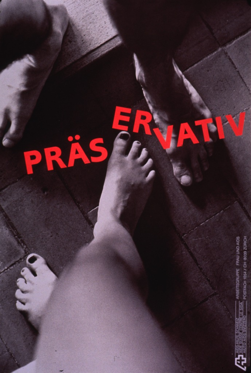 <p>Predominantly black and white poster with red and white lettering.  Visual image is a b&amp;w photo reproduction that shows the bare feet of a male-female couple.  The woman is stepping toward the man.  Title superimposed on photo around the woman's advancing foot, breaking the word into three parts and emphasizing &quot;er&quot; or &quot;him&quot;.  Publisher information in lower right corner.</p>