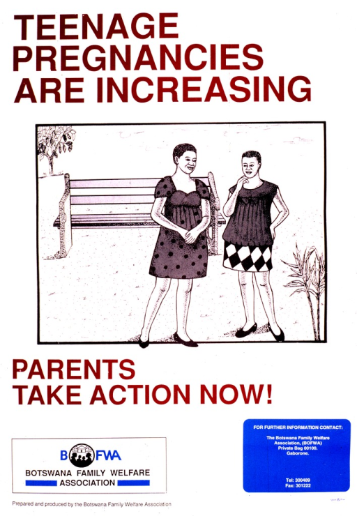 <p>Predominantly white poster with multicolor lettering.  Title at top of poster.  Visual image is an illustration of two pregnant teens standing in front of a park bench.  Caption below illustration.  Publisher logo and information at bottom of poster.</p>