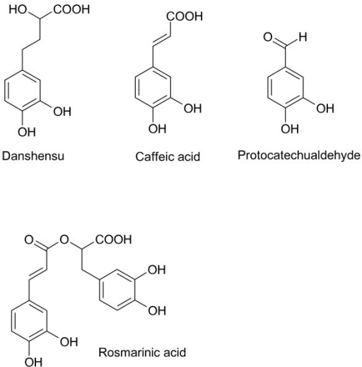 Danshensu and monoterpenoids from S. miltiorrhiza. All of these compounds contain catechol functionalities.