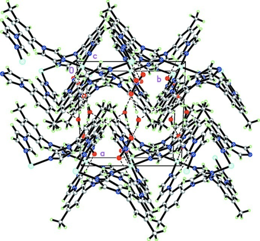 The packing diagram of the title complex, showing the hydrogen bonding as dashed lines.
