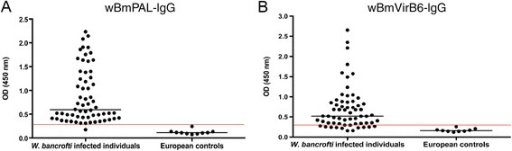 IgG antibody responses againstWolbachialipoproteins in patients infected withWuchereria bancrofti. IgG reactivity against wBmPAL (A) and virB6 (B). Infected groups both show significantly elevated levels of IgG to both lipoproteins (P < 0.05) compared with European controls. The red line represents the cutoff value (mean + 3 X SD).