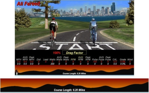 Shows the CompuTrainer_TimeTrail.3 dc course and the distance of this course