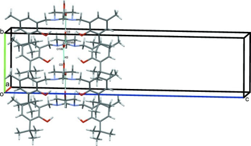 Part of the crystal packing of the title compound, showing the extensive inter­molecular hydrogen-bonding inter­actions (dashed lines). For clarity, only the major-disorder components (equatorial) of the OH substituents on the pyrimidine rings are included.
