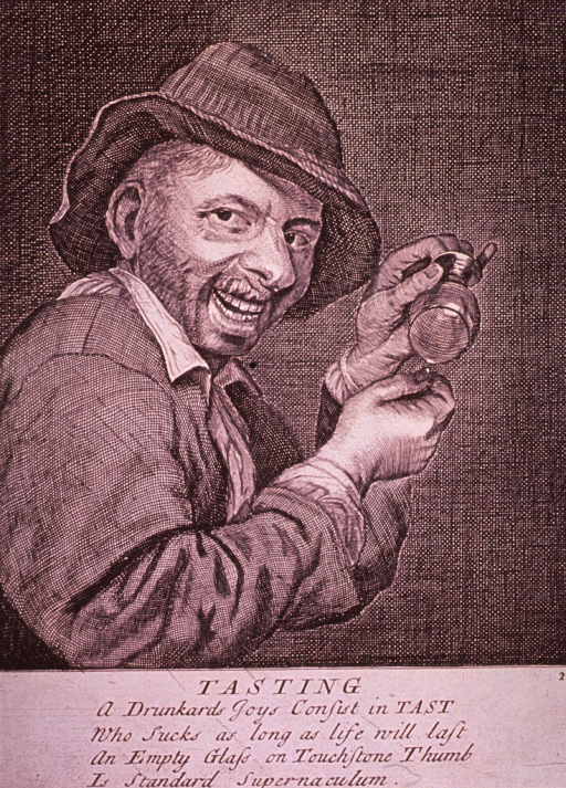 <p>An alcoholic with a big smile on his face tips his glass to demonstrate the technique of collecting the residue on his thumb, upon which he will then suck.</p>
