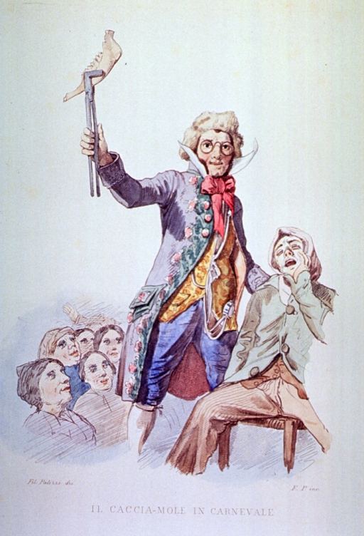 <p>In a carnival setting a charlatan dentist has extracted a man's jaw and holds it up to the crowd as evidence of his skill.</p>