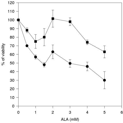 Cytotoxic effects of ALA. Human hepatocarcinoma cell lines (HEP G2 (circles) HEP 3B (squares)) were grown in the absence or in the presence of increasing ALA concentrations (0.5 to 5 mM) and the viability of cells was determined by the MTT assay. Viability was expressed in terms of population growth, as percent of an untreated control population with standard error of the mean (SEM).