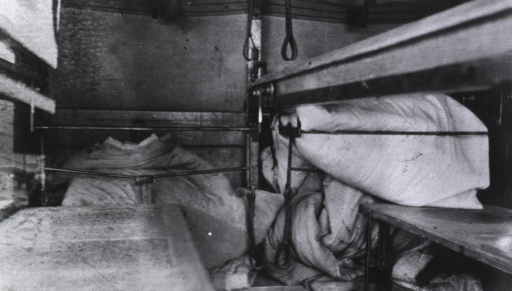 <p>The interior of a railroad car used as an operating room.</p>