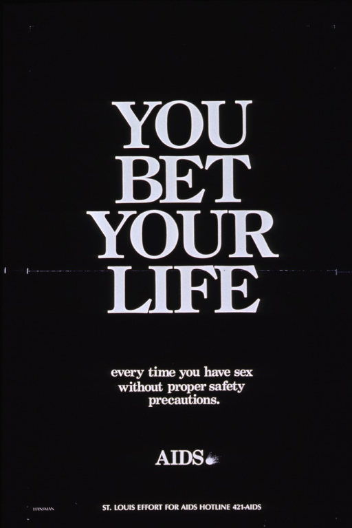 <p>Black background with white lettering. Poster is all text with initial title covering most of poster with subtitle below it. Publisher name is at bottom with hotline phone number next to it.</p>