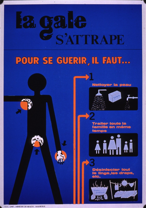 <p>Predominantly blue poster with black and orange lettering.  Title at top of poster.  Dominant visual image is an abstract human figure; the armpits, genital area, and hand of the figure are highlighted to show a scabies infestation.  Caption text begins below title and continues with one phrase for each of three small illustrations about treating scabies.  Illustrations include soap and water, a six-member family, and laundry being boiled and dried in the sun.  Publisher information at bottom of poster.</p>