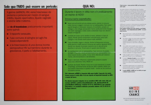 <p>White poster, divided into three sections, the first two sections being encased in orange and green boxes respectively.  The first box list the modes of transmission of HIV, and the second, headed with &quot;Qua no&quot;,  lists ways, including touching or co-habitating with a person living with HIV, in which you cannot get HIV.  The third section, black type set against the white background, lists preventive measures.  The address and telephone number of the Bundeszentrale fur gesundheitliche Aufklarung is listed at the bottom of the central green section. Das Bundesministerium fur Jugend, Familie, Frauen, und Gesundheit is listed in the lower right corner beneath &quot;Gib AIDS keine Chance&quot;.  In the lower right corner is &quot;italienisch&quot;, this poster being reproduced in other languages.</p>