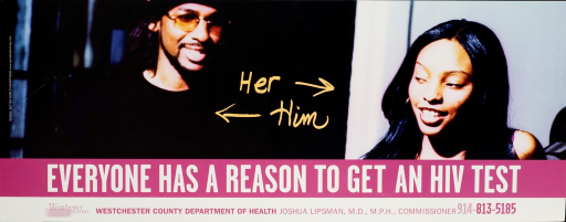<p>In the center of the poster is the word &quot;her&quot; with an arrow pointing toward a woman and the word &quot;him&quot; with an arrow pointing toward a man.  There is a web address and telephone number for the Westchester County Dept. of Health.</p>