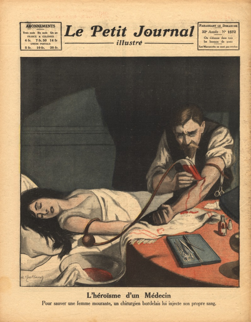 <p>Illustration of a blood transfusion.  A woman lies unconscious in bed while a doctor injects her with his blood.</p>