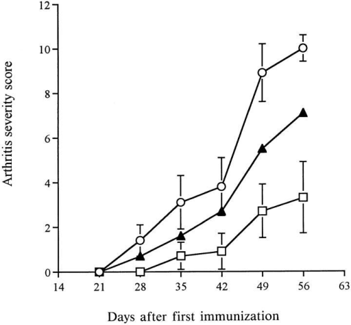 Collagen-induced arthritis in FLAP deficient mice. DBA/1  mice were immunized with chick type II collagen on day 0 and 21. IL-1  was administered subcutaneously on days 45 and 46 to trigger an arthritic  flare. Disease severity was scored by observation of the paws for redness  and swelling. Open circles, +/+ mice; closed triangles, +/− mice; open  squares, −/− mice. Results are mean ± SEM, n = 3 experiments.