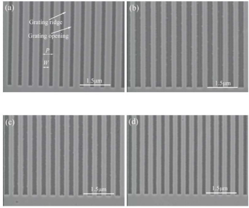 SEMimages of GaN grating templates for the epitaxial growth of GaN. (a) 500-nm period, 300-nm-wide grating; (b) 500-nm period, 200-nm-wide grating; (c) 450-nm period, 200-nm-wide grating; (d) 400-nm period, 200-nm wide grating.