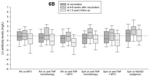 Antibody levels for serotype 6B at vaccination, at 4 to 6 weeks after vaccination, and at 1.5-year follow-up in patients with rheumatoid arthritis (RA) and spondyloarthropathy (SpA) treated with different antiinflammatory drugs. Antibody levels ≥1 mg/L were considered putative protective (short dashed line).