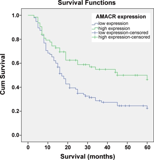 Kaplan–Meier's analysis of the correlation between the α-methylacyl-CoA racemase (AMACR) expression and the survival of hepatocellular carcinoma (HCC) patients. Patients with HCC with low-expression level of AMACR (n=95) had significantly lower survival rate than those with high-expression level of AMACR (n=63), (p<0.001).