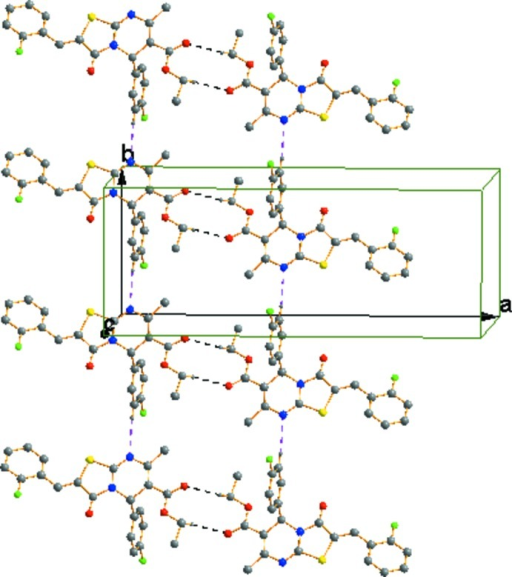 Part of the crystal structure with hydrogen bonds shown as dashed lines. For clarity H atoms not involved in hydrogen bonding are not shown.