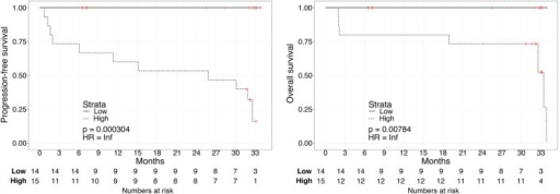 "Kaplan–Meier curves for PFS (left) or OS (right) in ccRCC patients according to urine biomarker score level. The prospective cohort of patients (N = 29) was classified as 14 ""Low"" (solid) vs. 15 ""High"" (dashed) biomarker score at the time of sampling."