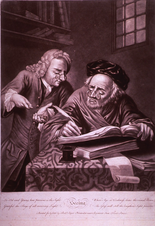 <p>An old man tallies an account book while another man standing next to him counts out coins. Both of them are wearing spectacles.</p>
