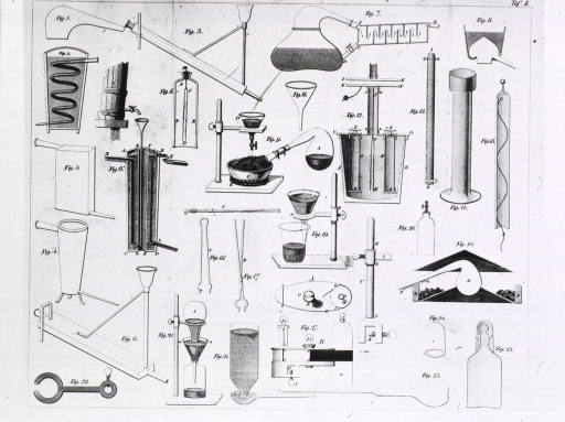 <p>Illustrations of various chemical and distillation apparatus.</p>