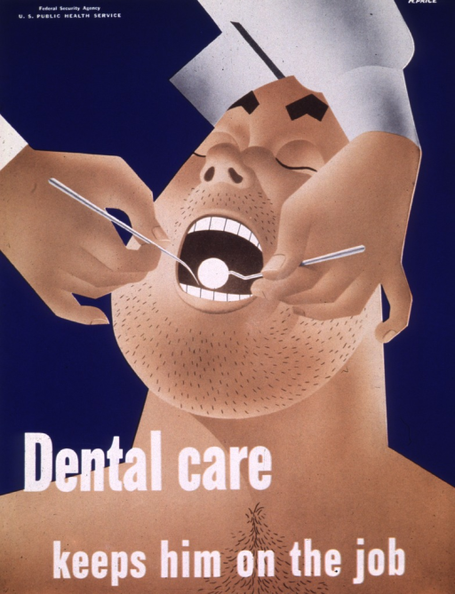 <p>Hands are holding dental instruments inside a burly man's mouth.</p>