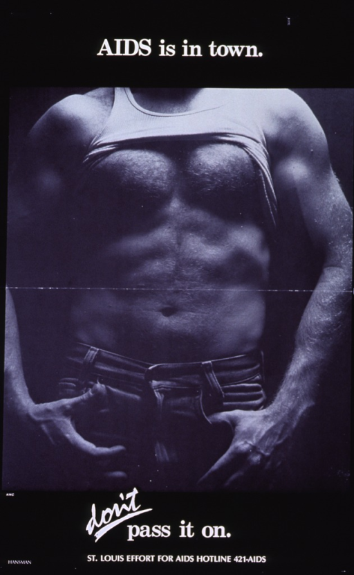 <p>Black background with white lettering. Most of the poster is a black and white photograph of the upper part of a man's body (waist area up to top of shoulders). The man is wearing jeans and has on a tank-top shirt that is pulled up to his armpits. Initial title is above the photograph, while subtitle is below it. Publisher information is at very bottom of poster with phone number next to it.</p>