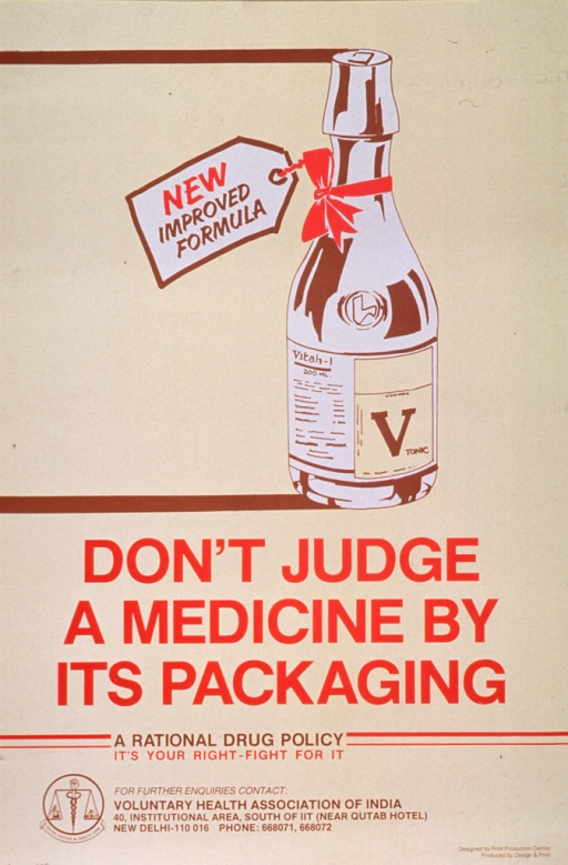 <p>Predominantly yellow poster with red and brown lettering.  Visual image is an illustration of a bottle of tonic that is labeled &quot;new improved formula.&quot;  Title below illustration.  Note below title.  Publisher information at bottom of poster.  Verso of poster presents the same information in what appears to be Hindi.</p>