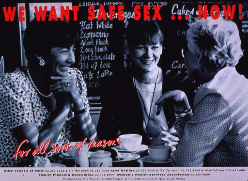<p>Predominantly green-tone poster with red and black lettering.  Initial title phrase at top of poster.  Visual image is a photo reproduction featuring three women sitting and chatting in a coffee shop.  Remaining title text superimposed at bottom of photo.  Various hotlines and publisher information at bottom of poster.</p>