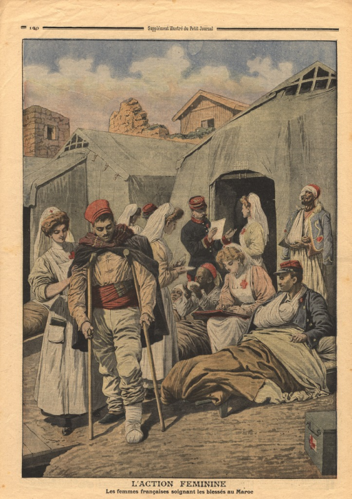 <p>Red Cross nurses are shown working amidst a group of wounded soldiers in front of a tent.</p>