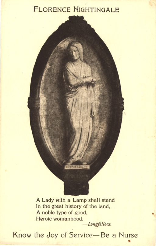 <p>Postcard featuring a black and white image of a statue of Florence Nightingale. The postcard is an advertisement for the Central Council for Nursing Education in Chicago, Illinois.</p>