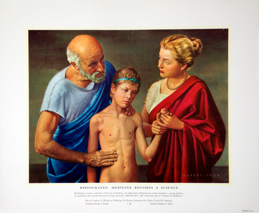 <p>Kindliness, concern, and love of the art of healing, all reflected by Hippocrates as he examines a young patient, are qualities that earned the great Greek physician (460-361 B.C.) the immortal title of &quot;Father of Medicine&quot;.</p>