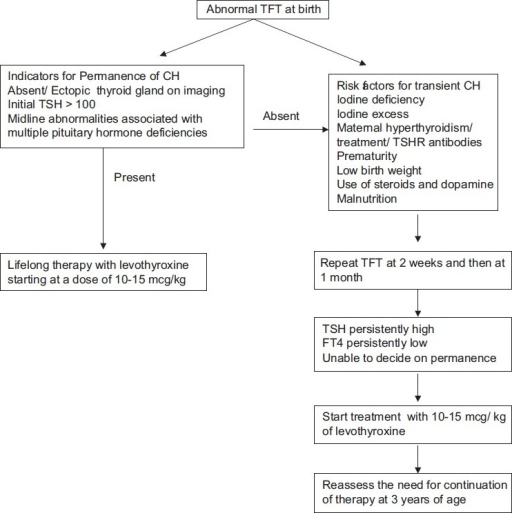 Flow chart for follow up of abnormal thyroid function test at birth